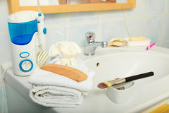 Closeup bathroom interior with sink and faucet Stock Images