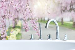 Closeup bathtub faucet Royalty Free Stock Photography