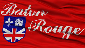 Closeup Baton Rouge Flag. Capital of Louisiana State, Flying in the Wind Stock Photo