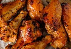 Closeup Bbq chicken wings with sauce, grilled and tasty finger f Stock Image
