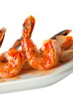 Closeup of BBQ shrimp skewers Royalty Free Stock Photography