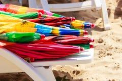 Closeup of beach umbrellas. Stock Images