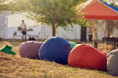 Bean bag chairs. Closeup of bean bag chairs at city park outdoors stock images