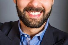 Closeup of beard and mustache man Stock Photos