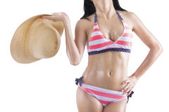 Closeup of beautiful body with hat Royalty Free Stock Photography