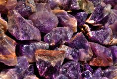 Closeups of Canadian Amethysts when wet. Closeup of Beautiful Canadian Amethysts from Northern Ontario, Canada while wet Stock Photography
