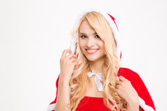 Closeup of beautiful cheerful blonde lady Royalty Free Stock Images