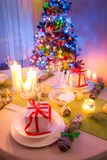 Beautiful Christmas table setting with green and white decoration Royalty Free Stock Photography