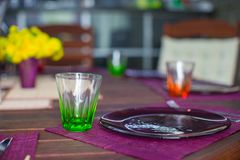 Closeup of beautiful color tableware for decorated table Royalty Free Stock Images