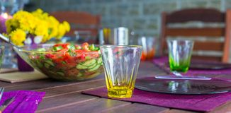 Closeup of beautiful color tableware for decorated table Stock Photography