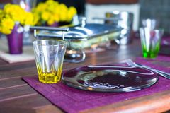 Closeup of beautiful color tableware for decorated table Royalty Free Stock Image