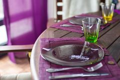 Closeup of beautiful color tableware for decorated table Stock Photos