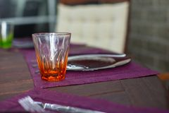 Closeup of beautiful color tableware for decorated table Royalty Free Stock Photos