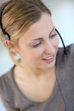 Closeup of beautiful customer service assistant Stock Photo
