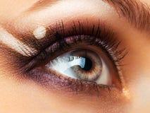 Closeup of beautiful eye with makeup Stock Photos