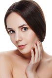 Closeup Beautiful face of young woman with clean fresh skin. Por Royalty Free Stock Image