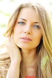 Closeup of beautiful female face. Outdoors royalty free stock images