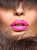 Closeup Beautiful female lips with pink  lipstick Stock Images