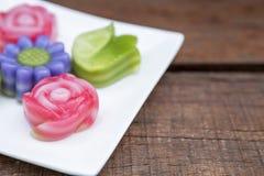 Closeup beautiful flower shape Thai layer cake. Thai style dessert Stock Photo