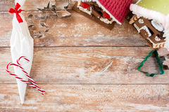 Closeup of beautiful gingerbread houses at home Royalty Free Stock Photo