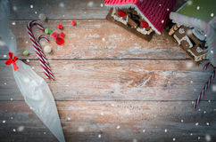 Closeup of beautiful gingerbread houses at home Royalty Free Stock Image