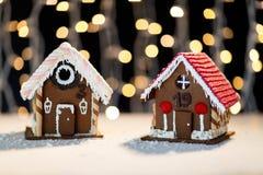 Closeup of beautiful gingerbread houses at home Stock Photos