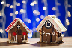 Closeup of beautiful gingerbread houses at home Royalty Free Stock Photos