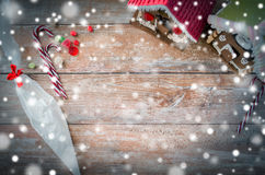 Closeup of beautiful gingerbread houses on table Stock Photography