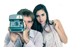 Closeup of beautiful girl and attractive man using Royalty Free Stock Photo