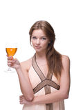 Closeup of beautiful girl with glass of alcohol Royalty Free Stock Photos