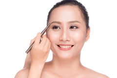 Closeup Of Beautiful Glamourous Asian Woman With Professional Ma Stock Photography