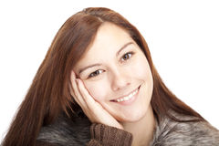 Closeup of a beautiful happy relaxed woman Stock Image
