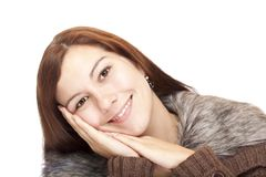 Closeup of a beautiful happy woman Royalty Free Stock Image