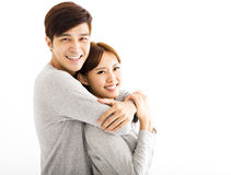 Closeup beautiful happy young couple royalty free stock photos