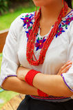 Closeup beautiful hispanic woman wearing traditional andean white blouse with colorful decoration around neck, matching Royalty Free Stock Image
