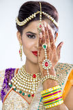 Closeup of Beautiful Indian Bride. Beautiful Indian Bride in jewelry and henna Royalty Free Stock Images