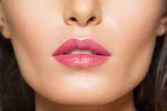 Closeup of beautiful lips Stock Photos