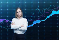 Closeup of beautiful portfolio manager with crossed hands in formal shirt. A concept of decision making process in finance. Stock Images