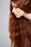 Closeup of beautiful red headed woman Stock Images