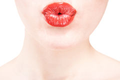 Closeup of beautiful red lips on white background Stock Images