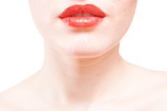 Closeup of beautiful red lips on white background Stock Image