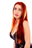 Closeup of beautiful redhead woman looking up Royalty Free Stock Images