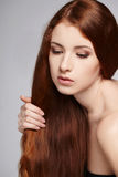 Closeup of beautiful redheaded woman Royalty Free Stock Image