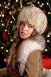 Closeup of a beautiful rich woman at Christmas Royalty Free Stock Image