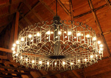 Closeup of a beautiful round chandelier light Stock Photography