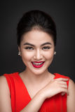Closeup of beautiful sexy girl with bright makeup and red lips. Beauty fashion asian woman. Closeup of beautiful sexy girl with bright makeup and red lips Royalty Free Stock Photos