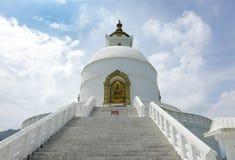 Closeup of beautiful Shanti stupa Stock Photo