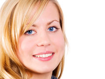 Closeup of beautiful smiling blond woman Stock Photos