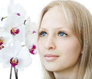Closeup woman face with white orchid Stock Image
