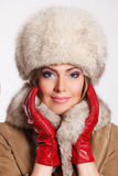 Closeup of a beautiful woman in fur Stock Images